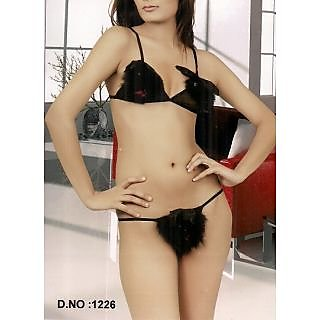 518a78322b Furry Black Micro Power Net G-String Bra Panty Seductive Fun Lingerie  Todays Night Wear
