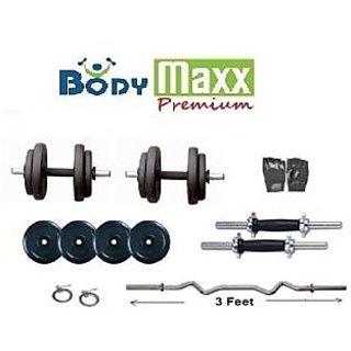 Body maxx 8kg Adjustable Dumbell Rubber Plates Grip Dumbell Rod 3Ft Curl Rod Gym Gloves