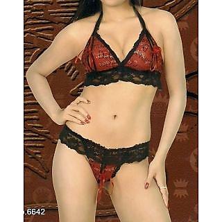 3ce991fb98583 Sexy Spandex Net Red Bikini Set Hot 2pc G-String Bra Panty Seductive Fun  Lingerie
