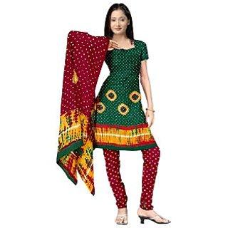 Ladies Beautiful Cotton Printed Suit Material Green