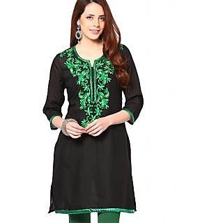 Amor Black Embroidered Cotton Knitted Round Neck 34th Sleeves Kurtis AMRF1677