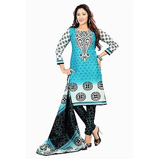 Florence Blue Cotton Printed Suit