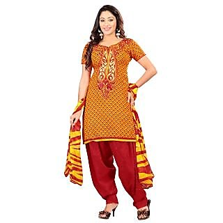 Florence Yellow Cambric Cotton Embroidered Suit (Unstitched)