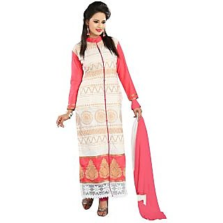Florence White Jhalak Cotton Embroidered Suit (Unstitched)
