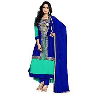 Florence Turquoise Blue Raja Tex Georgette Embroidered Suit