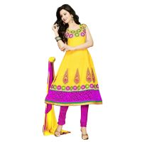 Florence Yellow Paakhi Combric Cotton Embroidered Suit (Unstitched)