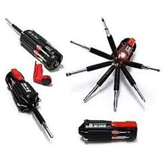 8 In 1 Multi Screwdriver Powerful Torch Kit