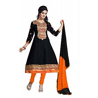 Florence Black Dupion Silk Lace Salwar Suit Dress Material (Unstitched)