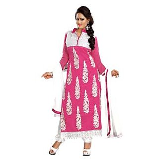 Florence Pink Rangoli Georgette Embroidered Suit (Unstitched)