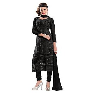 Florence Black Sajda Chiffon Embroidered Suit