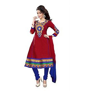 Florence Red Aaina Cotton Embroidered Suit (Unstitched)