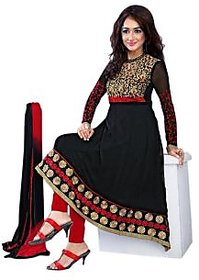 Florence Black Arzoo Chiffon Embroidered Suit (Unstitched)