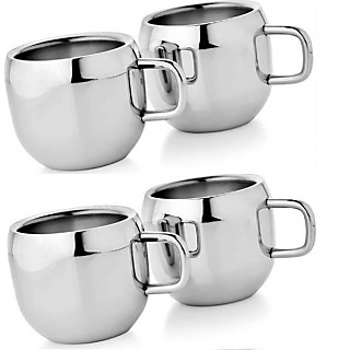 Set of 4 Double Wall Apple Cups