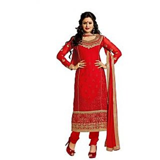 Florence Red Eshani Chiffon Embroidered Suit