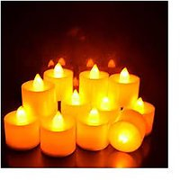 Yellow Color LED Candle Lights With Replaceable Battery - Pack Of 12
