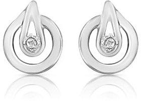 Mahi Rhodium Plated Spectacular Earrings With CZ