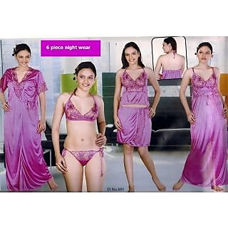 Womens Sexy Sleep Wear 6pc Bra Panty Top Skirt Nighty Over Coat Night Robe  Set New 137a066de