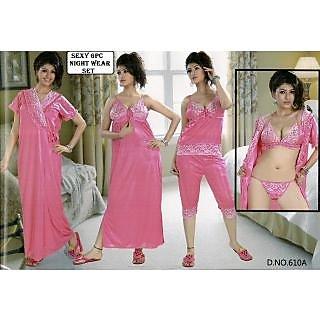 efd9262f98 Womens Sexy Sleep Wear 6pc Bra Panty Top Capri Nighty Over Coat Night Robe  Set New