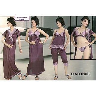 Womens Sexy 6pc Sleep Wear Bra Panty Top Capri Nighty Over Coat 610E Light  Wine Night d08698664