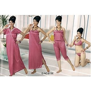 e1f30088dd5 Womens Sexy 6pc Sleep Wear Bra Panty Top Capri Nighty Over Coat 613E Onion  Pink Night Robe Set New Babydoll Gift for Bride Honeymoon Bedroom Daily Wear