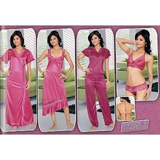 91133c8767 Lady Womens Sexy 6pc Sleep Wear Bra Panty Top Capri Nighty   Over Coat Night