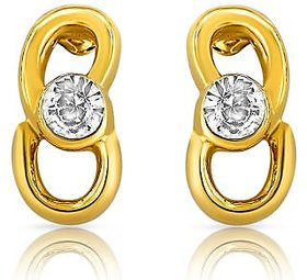 Mahi Gold Plated and CZ Slender Golden Earrings