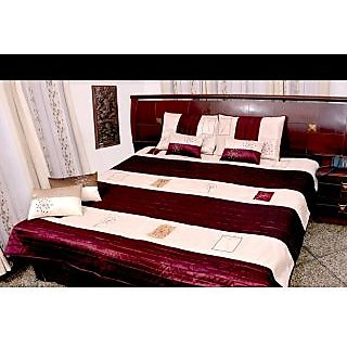 5 Pcs Maroon Shade Poly Dupion Silk Bedcover Set Flavia Design