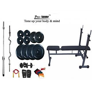 Protoner Weight Lifting Home Gym 32 Kg+Inc/Dec/Flat Bench+4 Rods(1 Zig Zag)+Accessories