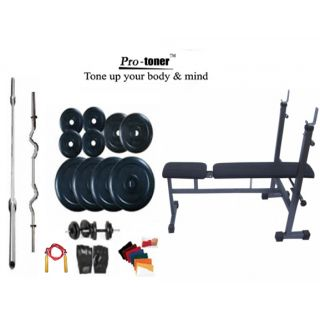 Protoner Weight Lifting Home Gym 40 Kg+Inc/Dec/Flat Bench+4 Rods(1 Zig Zag)+Accessories