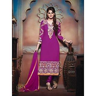 Jiya Women's Red Georgette Designer Straight Salwar Suit