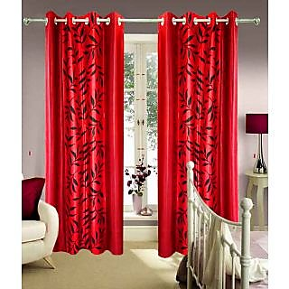 Homefab India Multi-Style Red Leaves Door(7X4)Curtain(hf354)