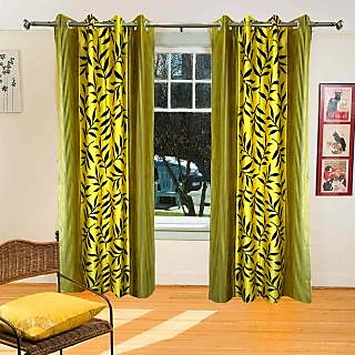 Homefab India Multi-Style Yellow Leaves Window(5X4)Curtain(hf355)