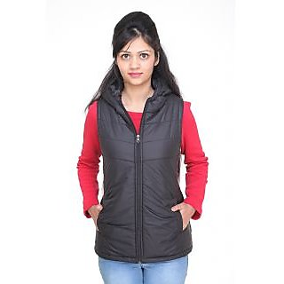 Trufit Sleeveless Polyester Girl's Jacket With Hood Black