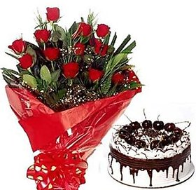Bunch of 12 Roses n Black Forest Cake Flower  DL3FLW167