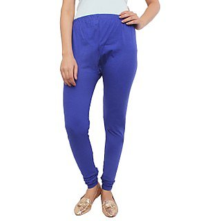 White Feather Royal Blue Cotton Lycra Churidar