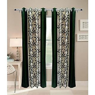 Jango Polyster Door CurtainFloral GreenSet of 27mx4m