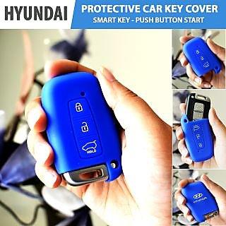 Hyundai Blue Silicone Car Key Cover For VERNA / I20 / FLUIDIC