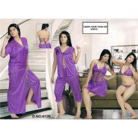 Hot Womens Sexy Sleep Wear 6p Sheer Bra Panty Open Top Capri Babydoll Nighty & Over Coat 612B Purple Bed Room Fun Set Transparent Lounge Wear for Date