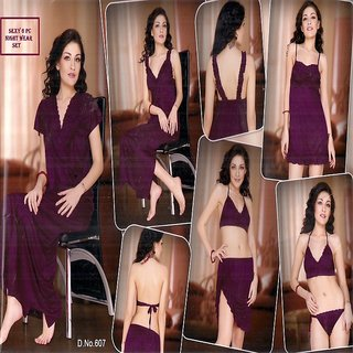 a369df3096129 Lady Womens Sexy Sleep Wear 6pc Bra Panty Babydoll Top Skirt Nighty Over  Coat Night Robe