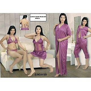 7c7e71af29 Hot Womens Sexy Sleep Wear 6p Sheer Bra Panty Open Top Capri Babydoll Nighty  Over Coat