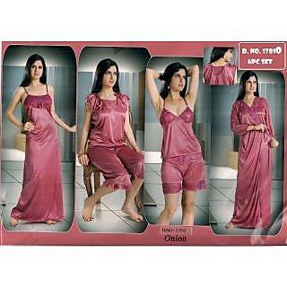62edea34e3 Hot Womens Sexy Sleep Wear 6p Spaghetti Top Hot Shorts Sleep - Shirt Capri  Nighty