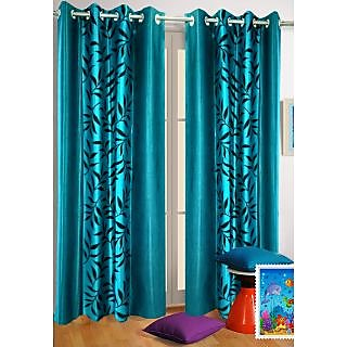 Homefab India Multi Style Aqua Blue Leaves Long Door(9X4 ft)Curtain(HF356)