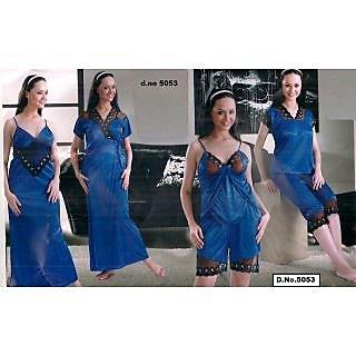 105f4a8494 Trend Setter Night Robe Set 6pc Top Hot Shorts Sleep - Shirt Nightie Over  Coat Hot