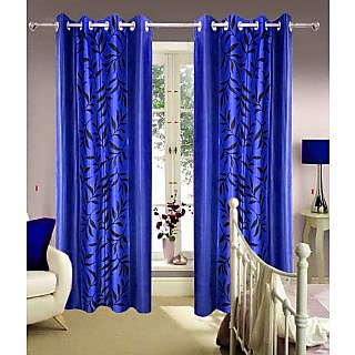 Homefab India Multi Style Navy Blue Leaves Window(5X4 ft)Curtain(HF357)