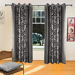 Homefab India Multi Style Grey Leaves Window(9X4 ft)Curtain(HF358)