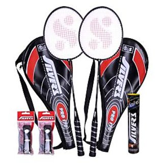 2 Silver's Pro-170 Badminton Racquets with 2 Individual 3/4Th Covers (Assorted) & 1 Box Silver's Shuttlecock Marvel (Pack Of 10) with 2 Silver's Pvc Grip