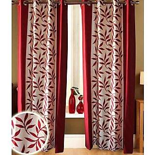 Jango Polyster Door CurtainFloral MaroonSet of 27mx4m