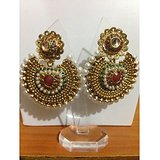 Beautiful Golden Base Red And Green Kundan Earrings