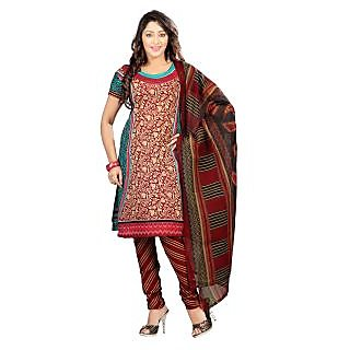 Florence Maroon And Green Polycotton Printed Salwar Suit Dress Material (Unstitched)