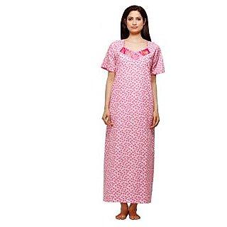 Trendy Comfortable V- Neck Pink Checkered Cotton Half Sleeve Nighty